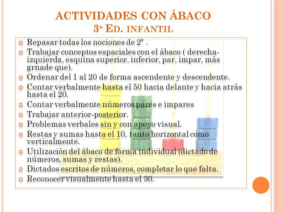 ACTIVIDADES CON ÁBACO 3º Ed. infantil