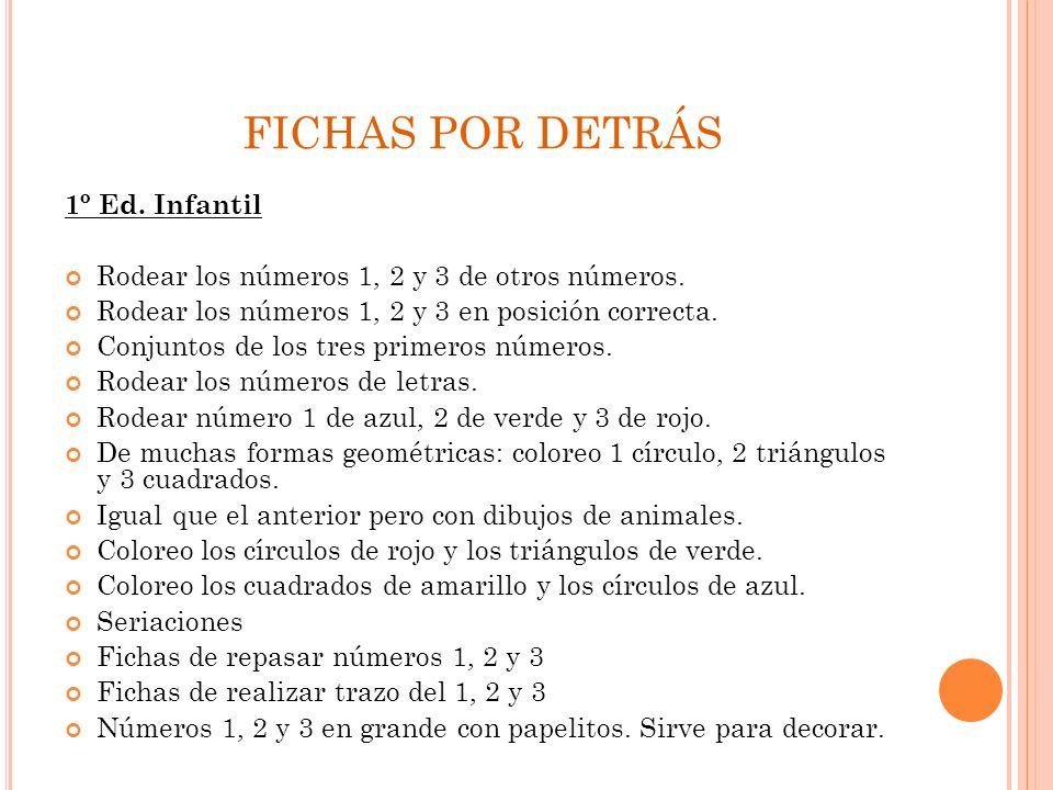 FICHAS POR DETRÁS 1º Ed. Infantil
