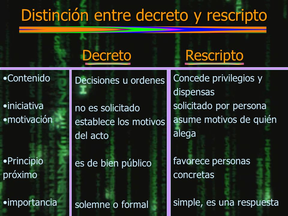 Distinción entre decreto y rescripto