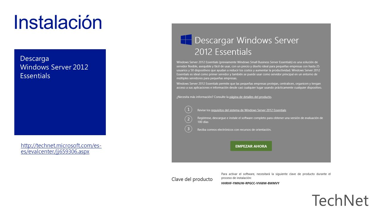 Instalación Descarga Windows Server 2012 Essentials