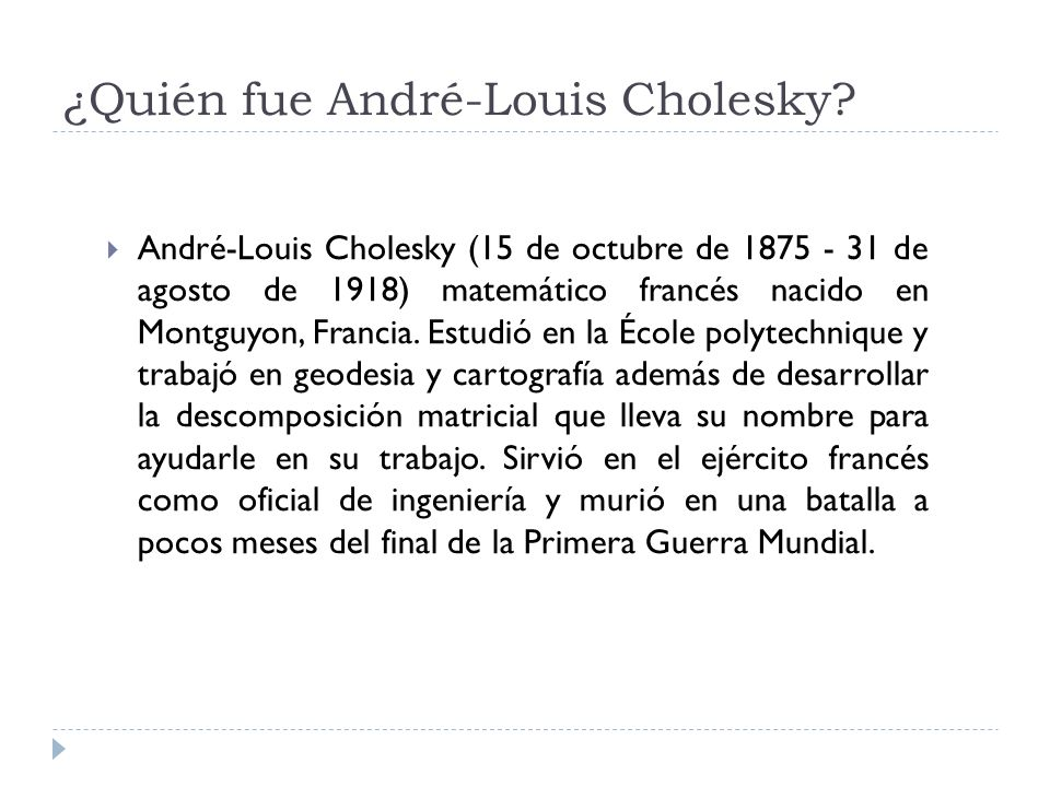 ¿Quién fue André-Louis Cholesky