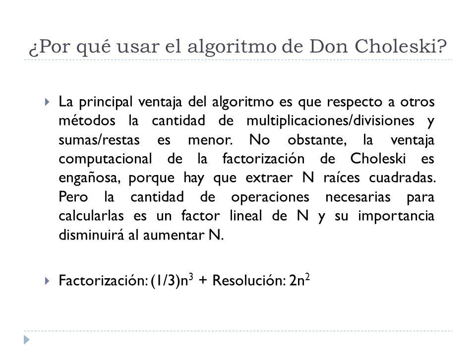 ¿Por qué usar el algoritmo de Don Choleski