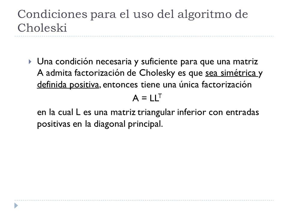 Condiciones para el uso del algoritmo de Choleski