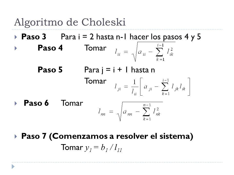 Algoritmo de Choleski Paso 3 Para i = 2 hasta n-1 hacer los pasos 4 y 5. Paso 4 Tomar. Paso 5 Para j = i + 1 hasta n.
