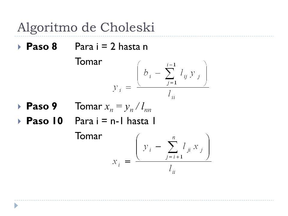 Algoritmo de Choleski Paso 8 Para i = 2 hasta n Tomar