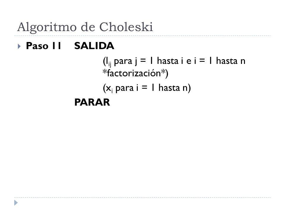 Algoritmo de Choleski Paso 11 SALIDA