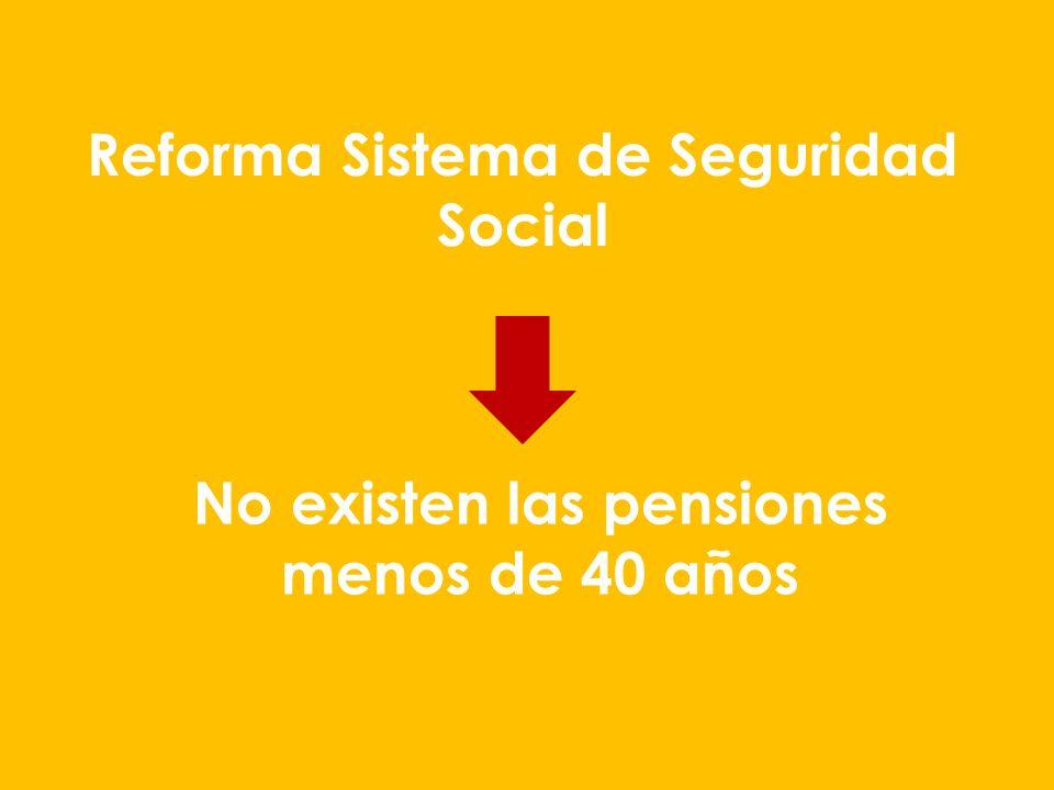 Reforma Sistema de Seguridad Social No existen las pensiones