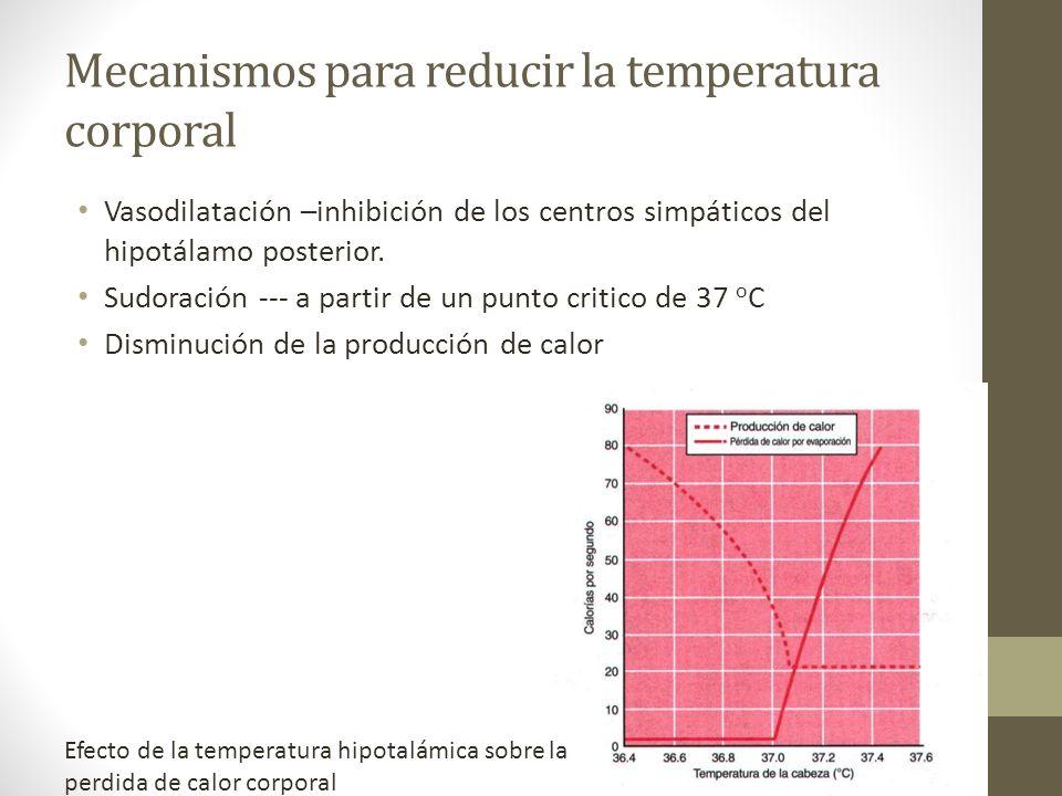 Mecanismos para reducir la temperatura corporal
