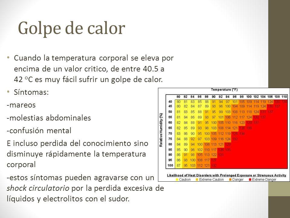 Golpe de calor Cuando la temperatura corporal se eleva por encima de un valor critico, de entre 40.5 a 42 oC es muy fácil sufrir un golpe de calor.