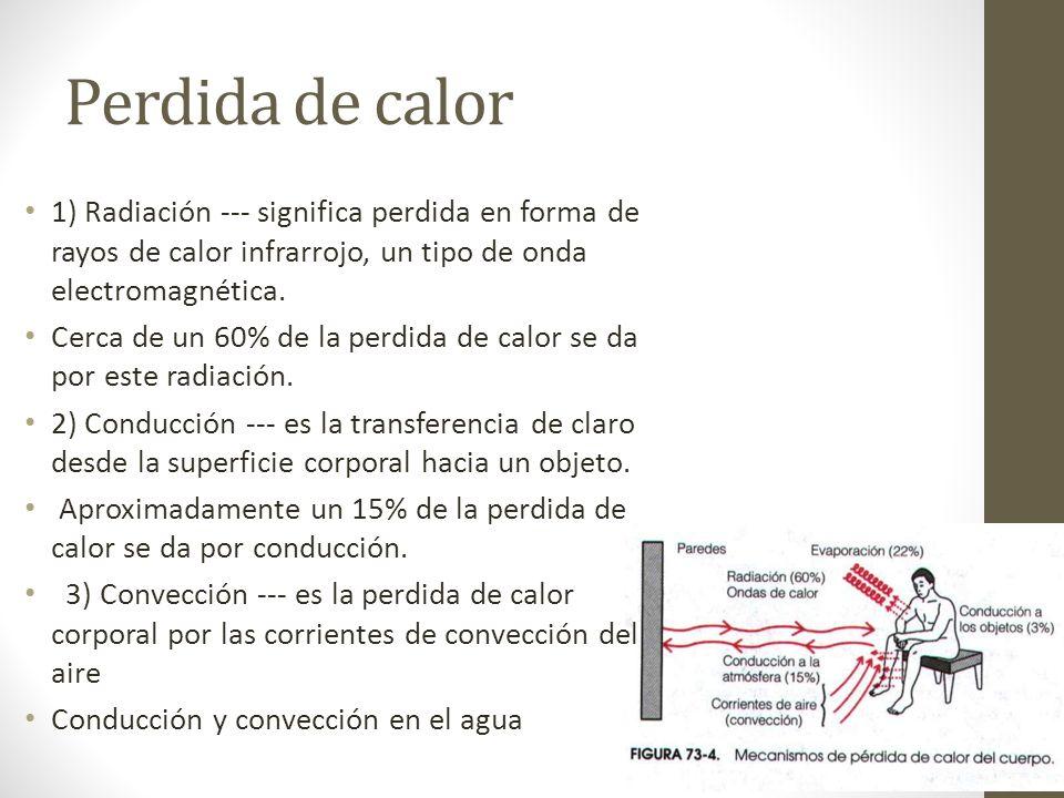 Perdida de calor 1) Radiación --- significa perdida en forma de rayos de calor infrarrojo, un tipo de onda electromagnética.