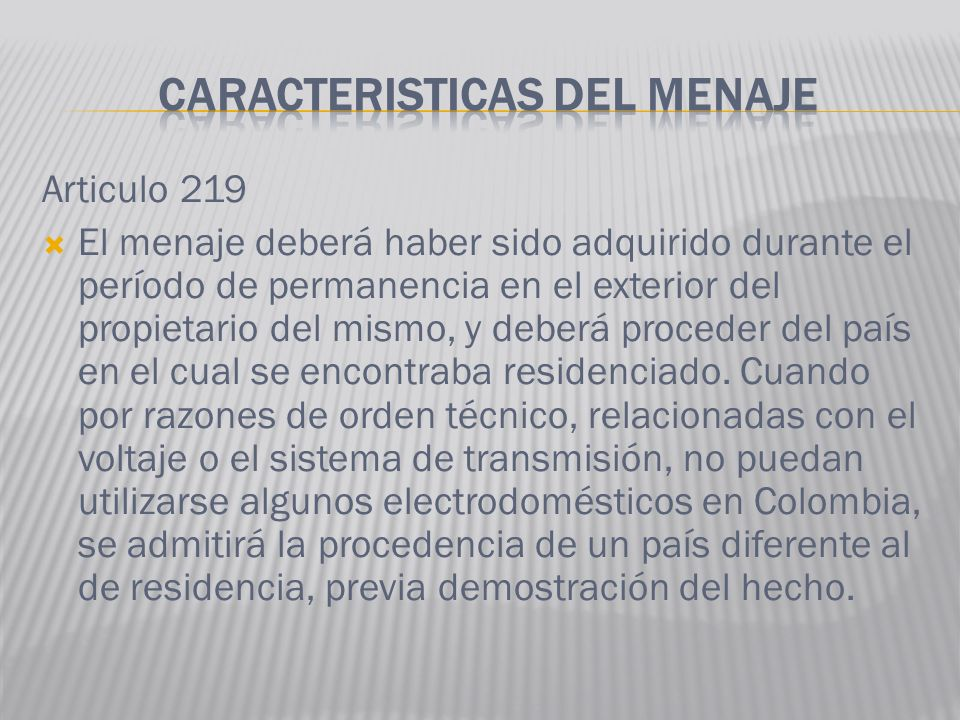 CARACTERISTICAS DEL MENAJE