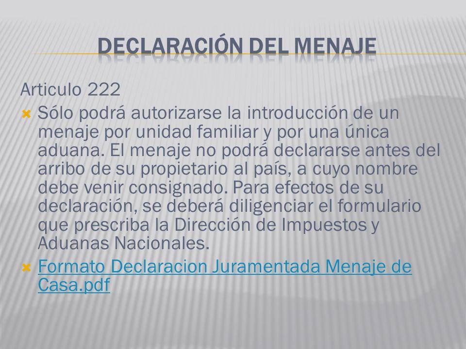 DECLARACIÓN DEL MENAJE