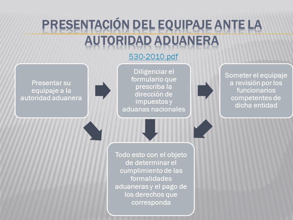 PRESENTACIÓN DEL EQUIPAJE ANTE LA AUTORIDAD ADUANERA