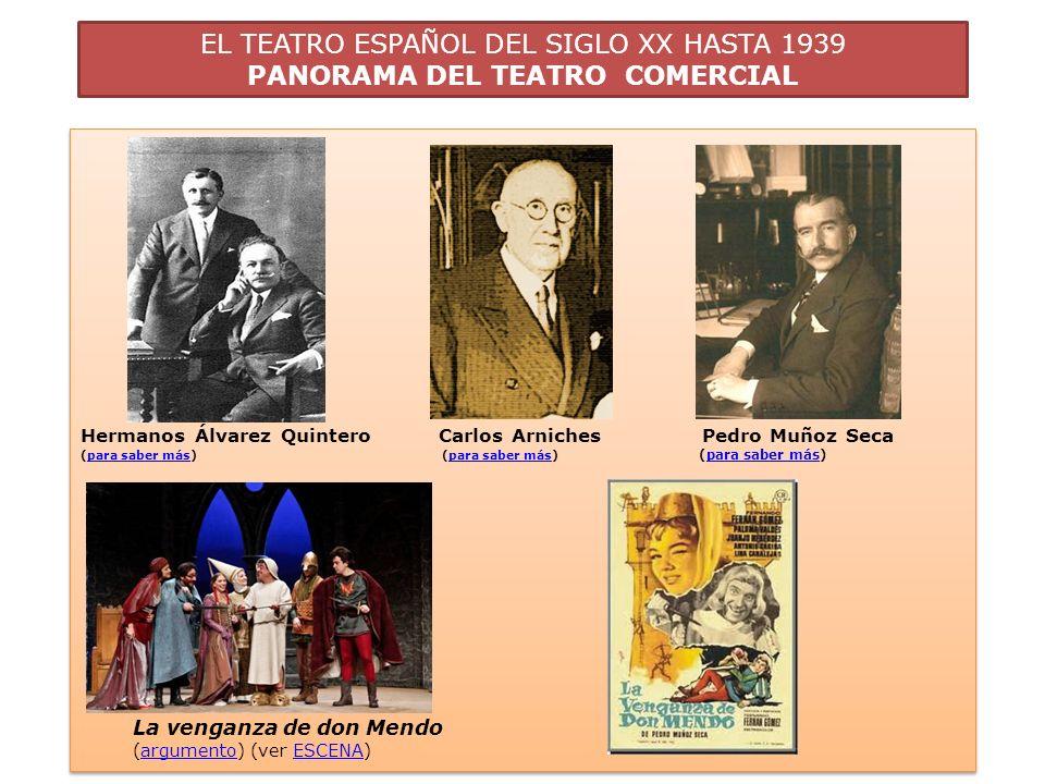 EL TEATRO ESPAÑOL DEL SIGLO XX HASTA 1939 PANORAMA DEL TEATRO COMERCIAL