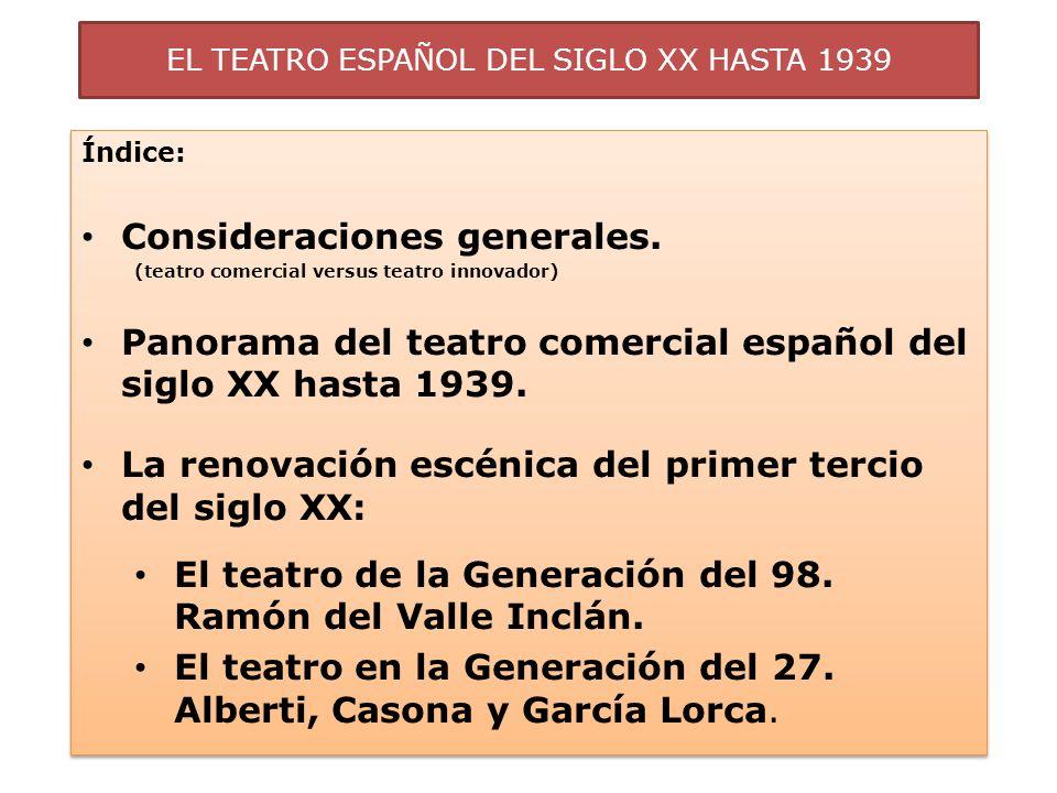 EL TEATRO ESPAÑOL DEL SIGLO XX HASTA 1939