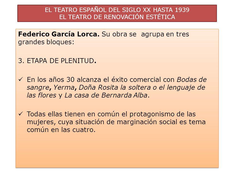 Federico García Lorca. Su obra se agrupa en tres grandes bloques: