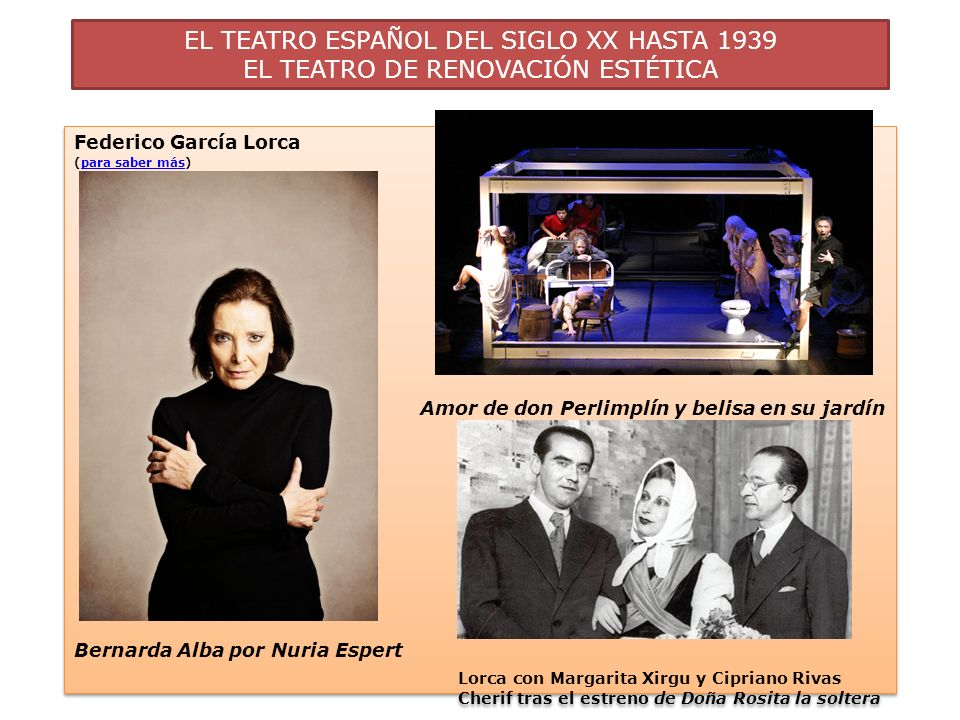 EL TEATRO ESPAÑOL DEL SIGLO XX HASTA 1939 EL TEATRO DE RENOVACIÓN ESTÉTICA