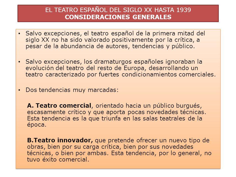 EL TEATRO ESPAÑOL DEL SIGLO XX HASTA 1939 CONSIDERACIONES GENERALES