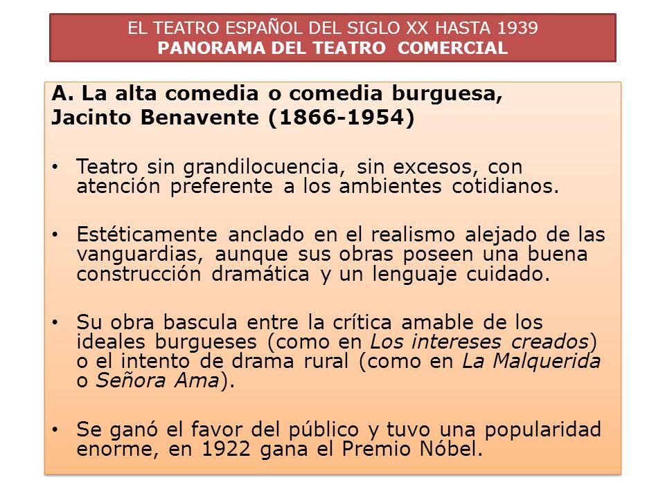 A. La alta comedia o comedia burguesa, Jacinto Benavente (1866-1954)