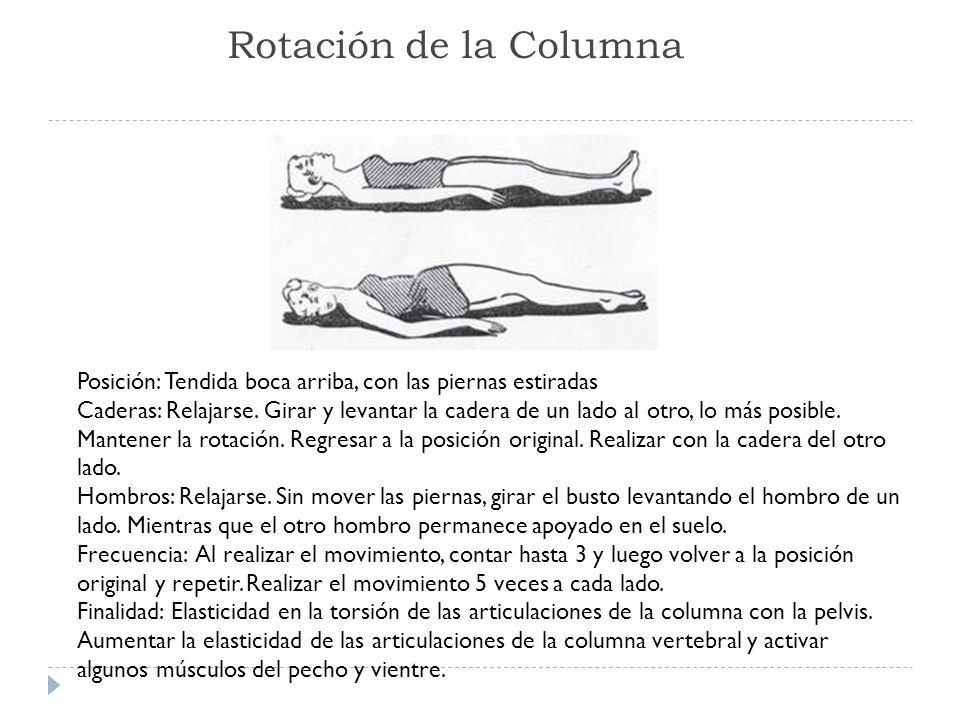 Rotación de la Columna Posición: Tendida boca arriba, con las piernas estiradas.