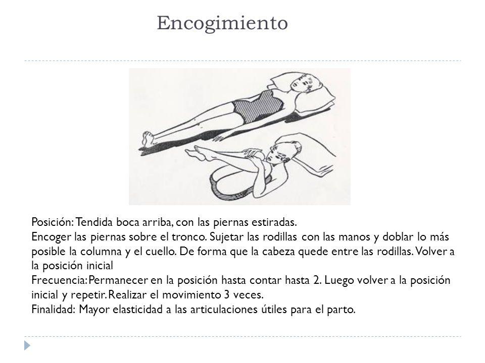 Encogimiento Posición: Tendida boca arriba, con las piernas estiradas.