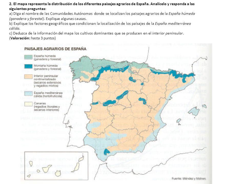2. El mapa representa la distribución de los diferentes paisajes agrarios de España. Analícelo y responda a las