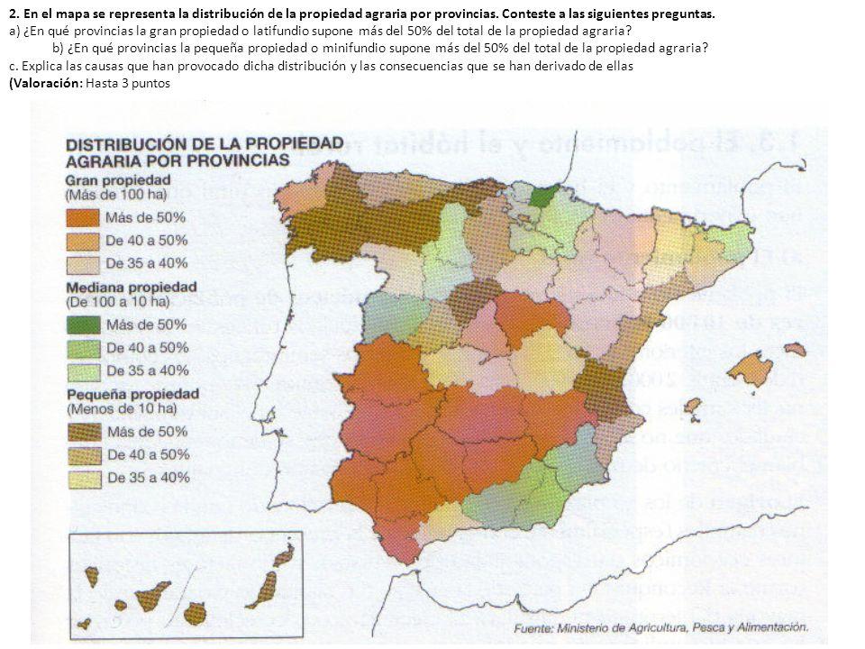 2. En el mapa se representa la distribución de la propiedad agraria por provincias. Conteste a las siguientes preguntas.