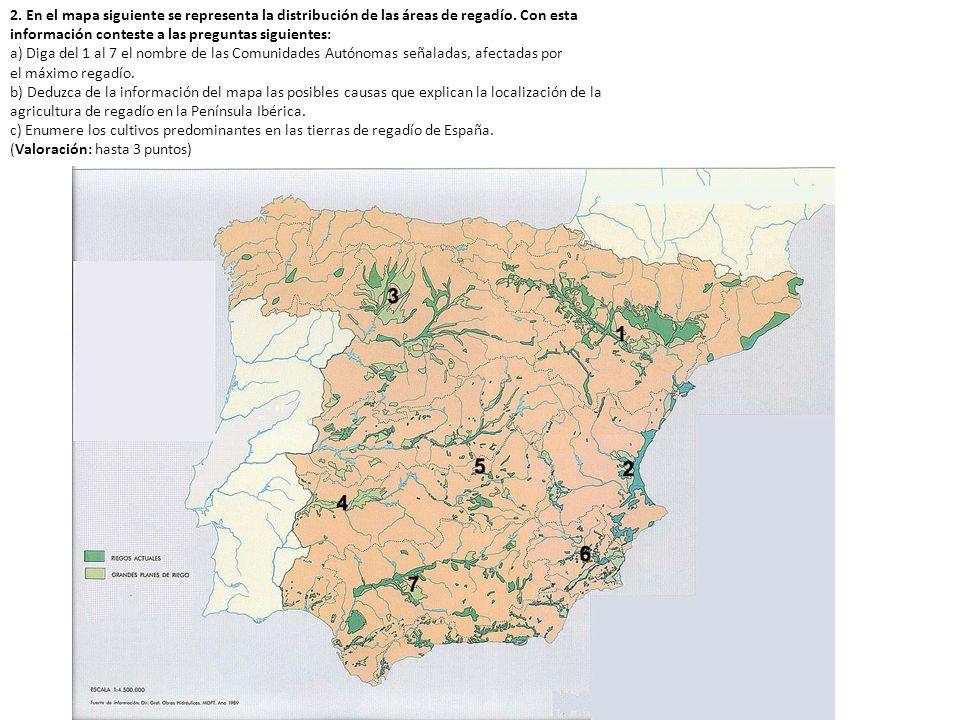 2. En el mapa siguiente se representa la distribución de las áreas de regadío. Con esta