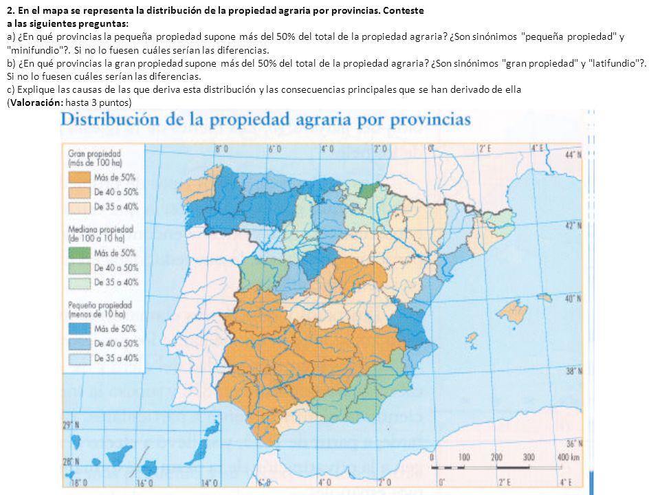 2. En el mapa se representa la distribución de la propiedad agraria por provincias. Conteste