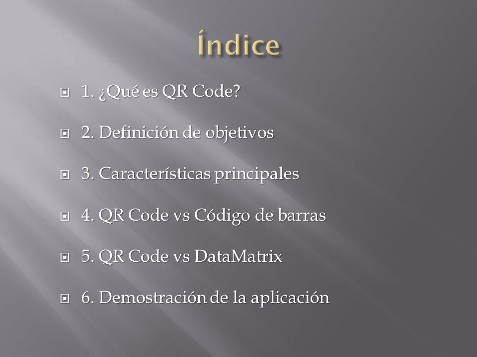 Índice 1. ¿Qué es QR Code 2. Definición de objetivos