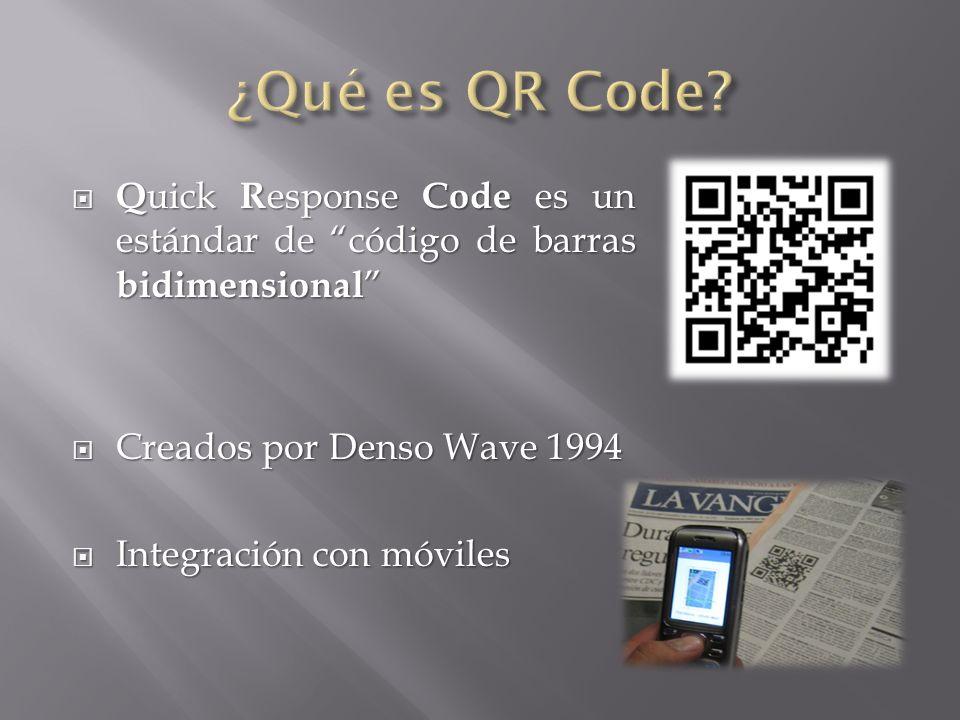 ¿Qué es QR Code Quick Response Code es un estándar de código de barras bidimensional Creados por Denso Wave 1994.