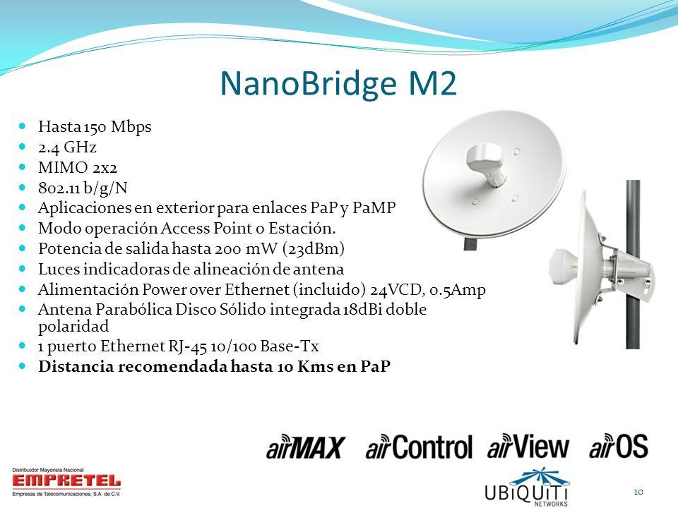 NanoBridge M2 Hasta 150 Mbps 2.4 GHz MIMO 2x2 802.11 b/g/N