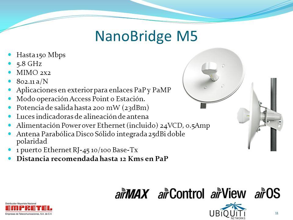 NanoBridge M5 Hasta 150 Mbps 5.8 GHz MIMO 2x2 802.11 a/N