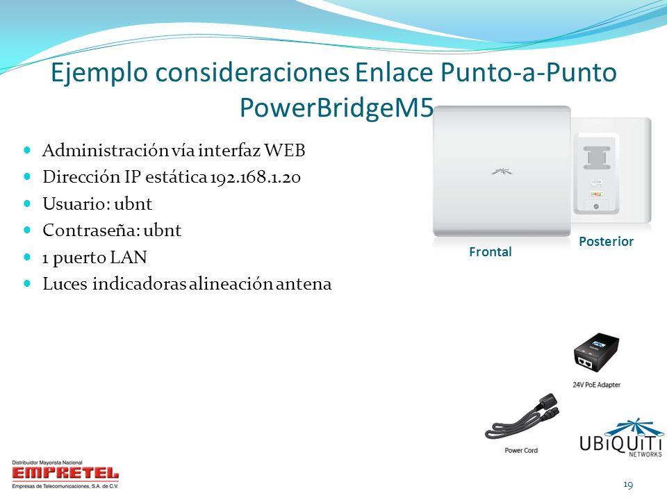 Ejemplo consideraciones Enlace Punto-a-Punto PowerBridgeM5