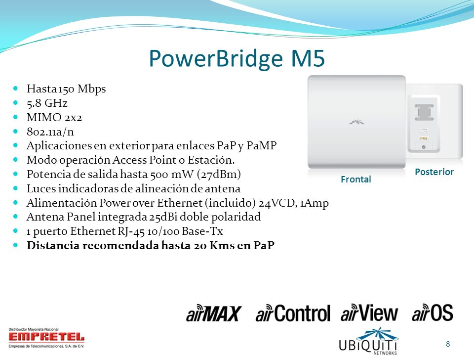 PowerBridge M5 Hasta 150 Mbps 5.8 GHz MIMO 2x2 802.11a/n