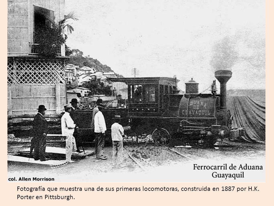 Fotografía que muestra una de sus primeras locomotoras, construida en 1887 por H.K.