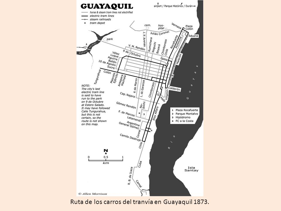 Ruta de los carros del tranvía en Guayaquil 1873.