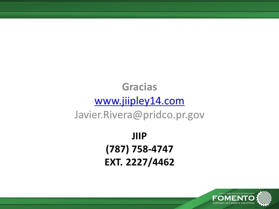Gracias www.jiipley14.com Javier.Rivera@pridco.pr.gov