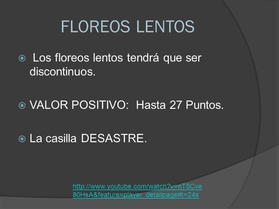FLOREOS LENTOS Los floreos lentos tendrá que ser discontinuos.
