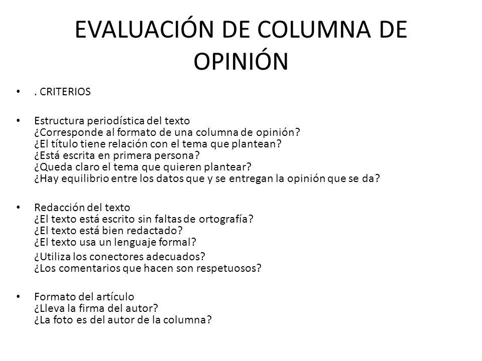 EVALUACIÓN DE COLUMNA DE OPINIÓN
