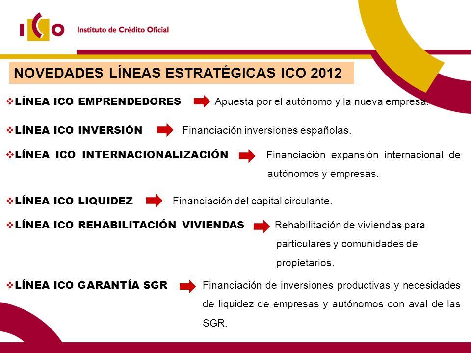 NOVEDADES LÍNEAS ESTRATÉGICAS ICO 2012