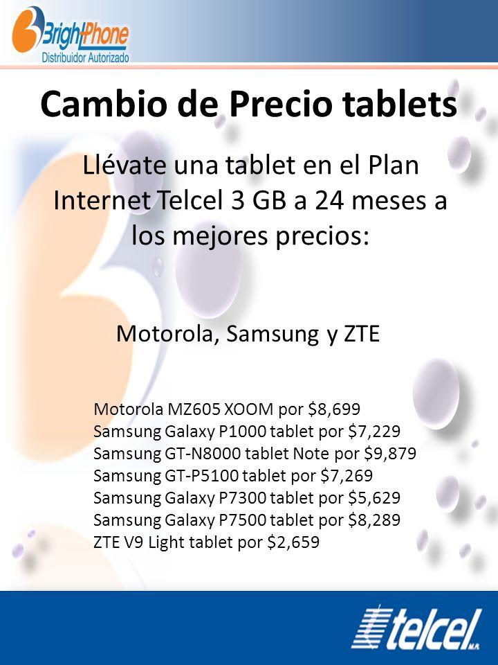 Cambio de Precio tablets