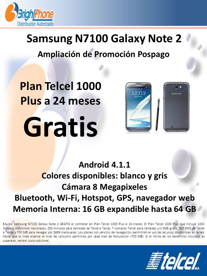 Gratis Samsung N7100 Galaxy Note 2 Plan Telcel 1000 Plus a 24 meses