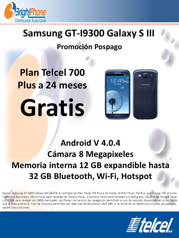 Gratis Samsung GT-I9300 Galaxy S III Plan Telcel 700 Plus a 24 meses