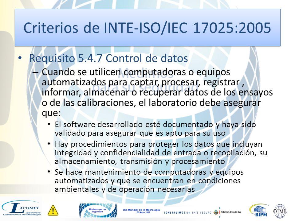 Criterios de INTE-ISO/IEC 17025:2005