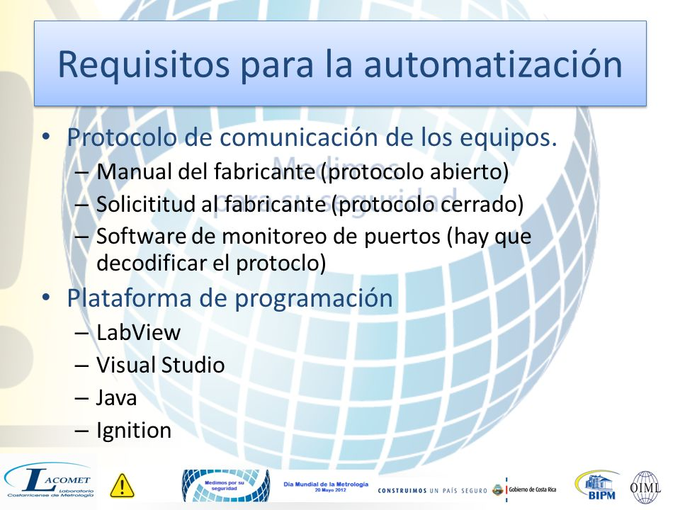 Requisitos para la automatización