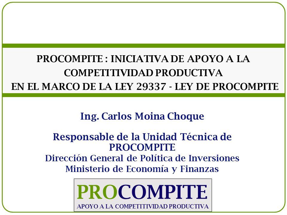 PROCOMPITE : INICIATIVA DE APOYO A LA COMPETITIVIDAD PRODUCTIVA