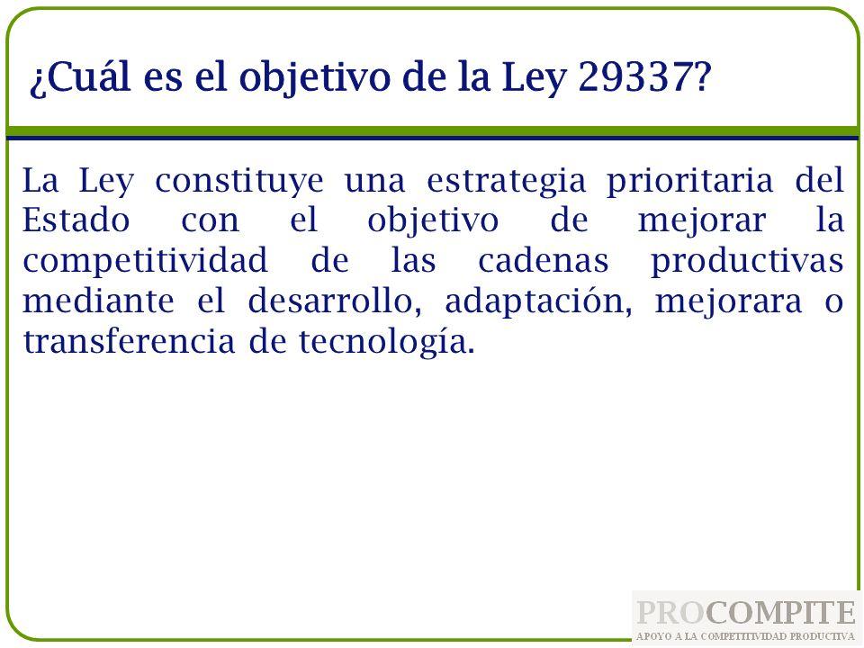 ¿Cuál es el objetivo de la Ley 29337