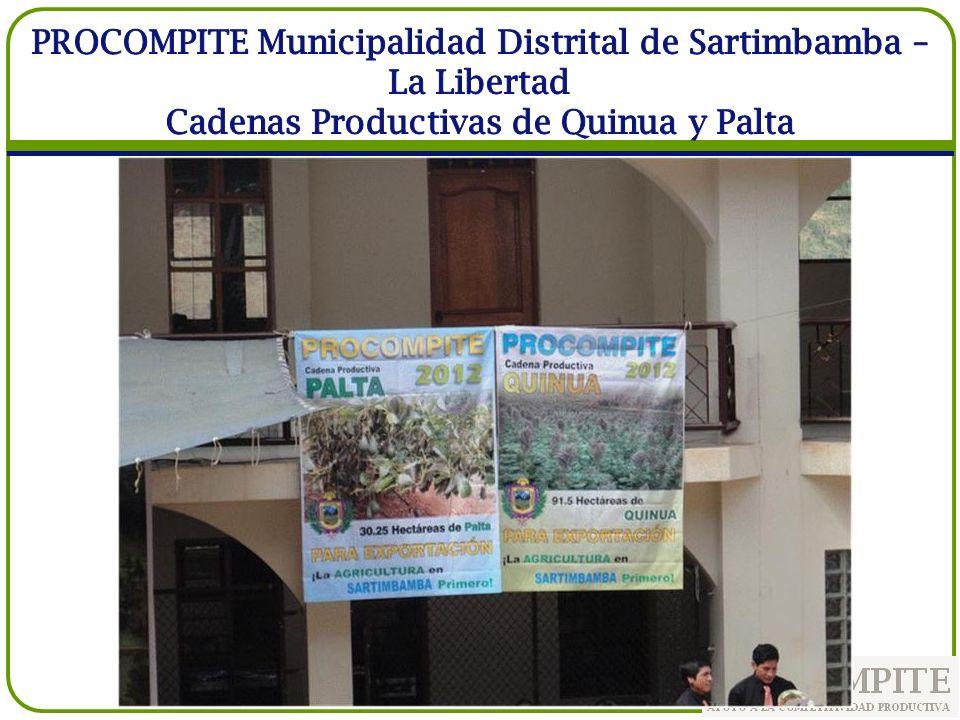 PROCOMPITE Municipalidad Distrital de Sartimbamba – La Libertad Cadenas Productivas de Quinua y Palta