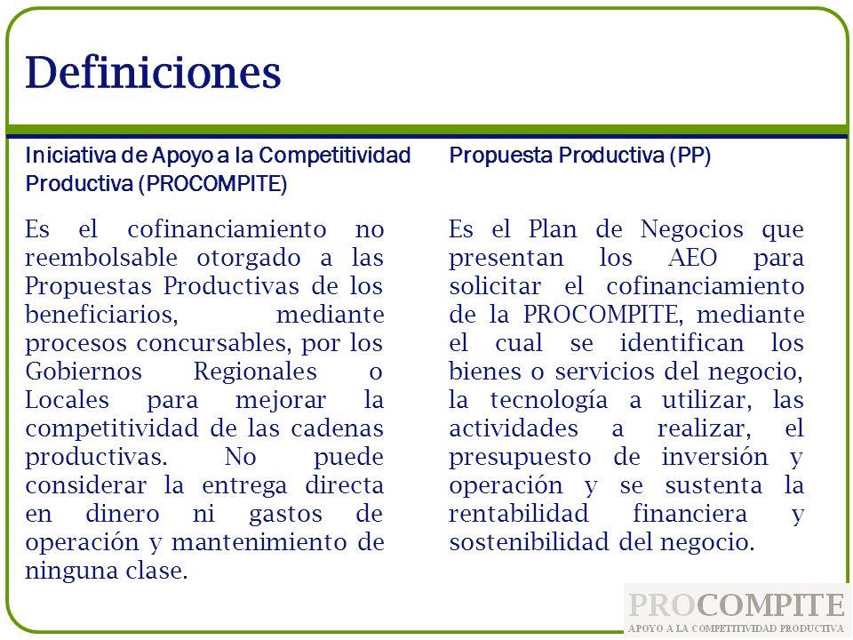 Definiciones Iniciativa de Apoyo a la Competitividad Productiva (PROCOMPITE) Propuesta Productiva (PP)
